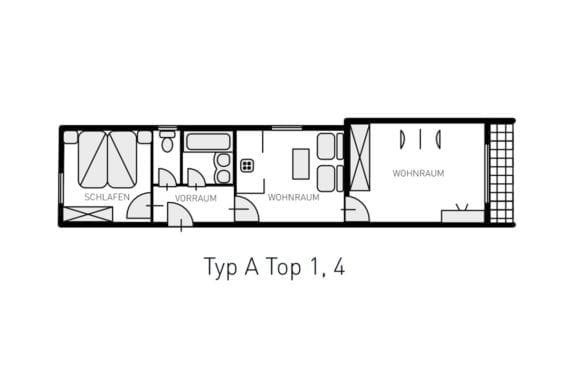 Grundriss Typ A - Ferienwohnungen in Filzmoos, Appartementhaus St. Georg