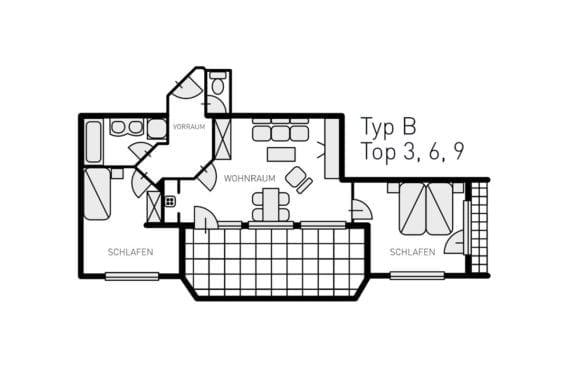 Grundriss Typ B - Ferienwohnungen in Filzmoos, Appartementhaus St. Georg