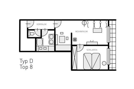 Grundriss Typ D - Ferienwohnungen in Filzmoos, Appartementhaus St. Georg